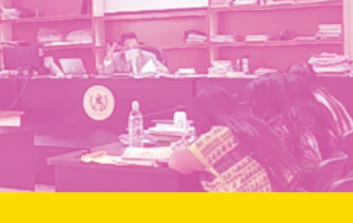 Photo with a pink filter: judge in the background at a desk facing 3 female layers with their backs to the camera in a court room